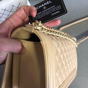 Tan Chanel boy bag